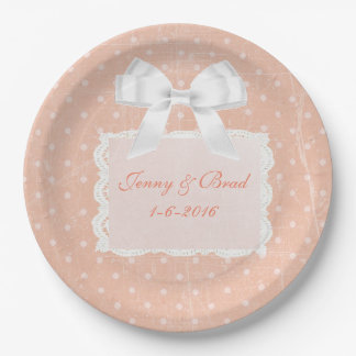 Coral or Peach Wedding  Paper Plates 9 Inch Paper Plate