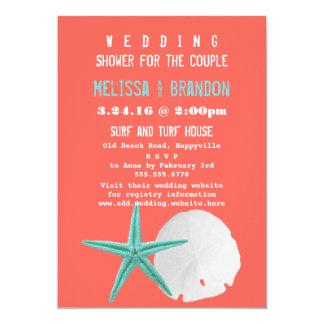 Coral Orange and Blue Beach Shells Wedding Shower 13 Cm X 18 Cm Invitation Card