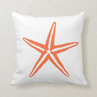 Coral Orange and White Starfish Pillow Cushions