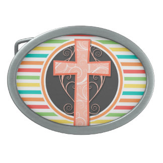 Coral Orange Cross; Bright Rainbow Stripes Oval Belt Buckle