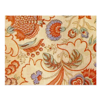 Coral Orange Floral Chintz Paisley Postcard