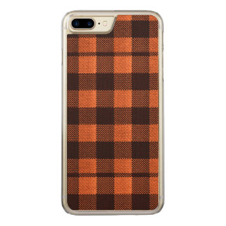 Coral Orange Gingham Checkered Pattern Burlap Look Carved iPhone 8 Plus/7 Plus Case