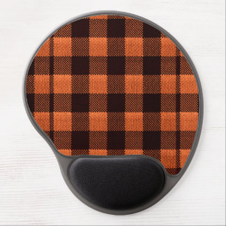 Coral Orange Gingham Checkered Pattern Burlap Look Gel Mouse Mat