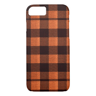 Coral Orange Gingham Checkered Pattern Burlap Look iPhone 8/7 Case