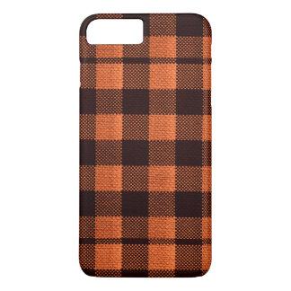 Coral Orange Gingham Checkered Pattern Burlap Look iPhone 8 Plus/7 Plus Case