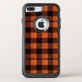 Coral Orange Gingham Checkered Pattern Burlap Look OtterBox Commuter iPhone 8 Plus/7 Plus Case