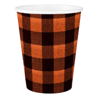 Coral Orange Gingham Checkered Pattern Burlap Look Paper Cup