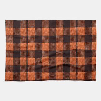Coral Orange Gingham Checkered Pattern Burlap Look Tea Towel
