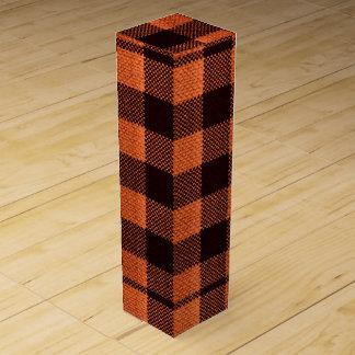 Coral Orange Gingham Checkered Pattern Burlap Look Wine Box