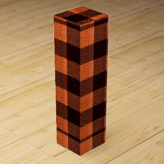 Coral Orange Gingham Checkered Pattern Burlap Look Wine Boxes