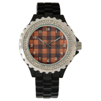 Coral Orange Gingham Checkered Pattern Burlap Look Wristwatches
