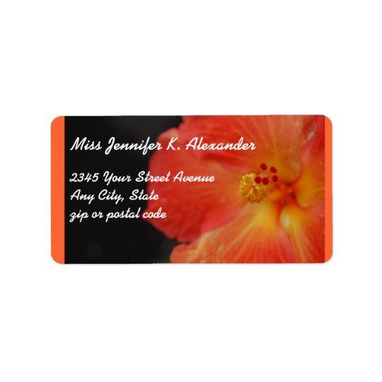 Coral Orange Hibiscus Flower Address Label
