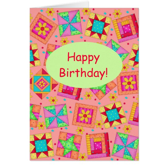Coral Orange Patchwork Quilt Art Happy Birthday Card