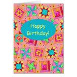 Coral Orange Patchwork Quilt Art Happy Birthday Greeting Card