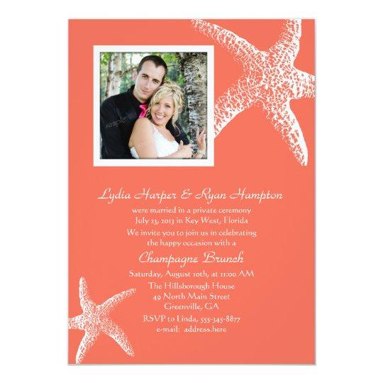 Coral Orange Photo Wedding Reception Only Invites
