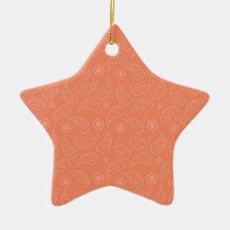 Coral Orange, Salmon, Country Paisley Ceramic Star Decoration