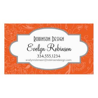 Coral Orange Salmon Floral Swirls Business Card