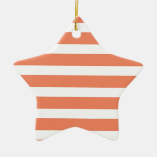 Coral Orange, Salmon, Wide Stripes Ceramic Star Decoration