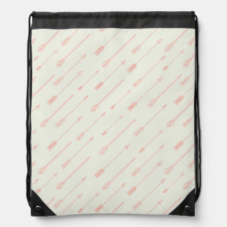 Coral Outlined Arrows Pattern Drawstring Bag