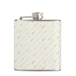 Coral Outlined Arrows Pattern Hip Flask