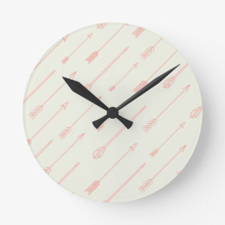 Coral Outlined Arrows Pattern Round Clock