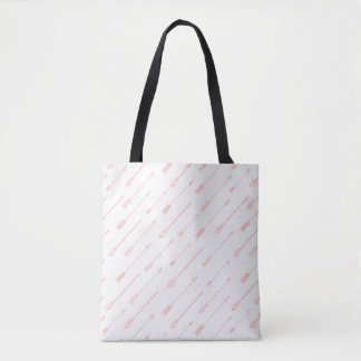 Coral Outlined Arrows Pattern Tote Bag