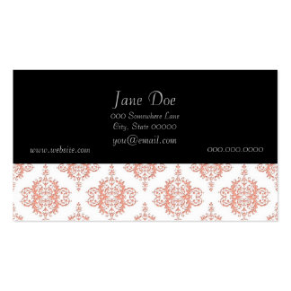 Coral over White Victorian Damask Pattern Double-Sided Standard Business Cards (Pack Of 100)