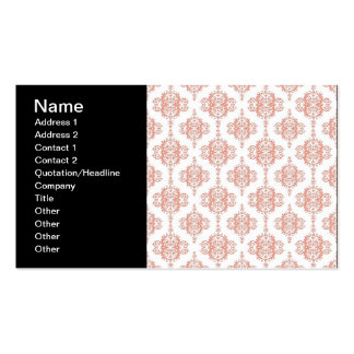 Coral over White Victorian Damask Pattern Business Cards