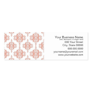 Coral over White Victorian Damask Pattern Double-Sided Mini Business Cards (Pack Of 20)