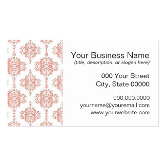 Coral over White Victorian Damask Pattern Business Card Template