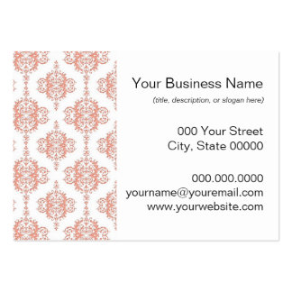 Coral over White Victorian Damask Pattern Large Business Cards (Pack Of 100)