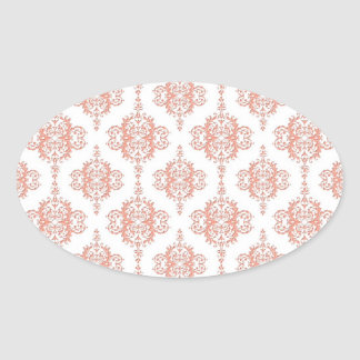 Coral over White Victorian Damask Pattern Oval Sticker