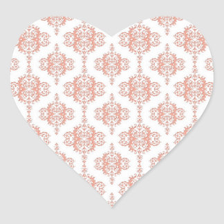 Coral over White Victorian Damask Pattern Sticker