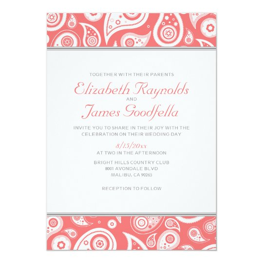Coral Paisley Wedding Invitations