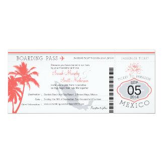 Coral Palm Tree Mexico Boarding Pass Wedding 10 Cm X 24 Cm Invitation Card