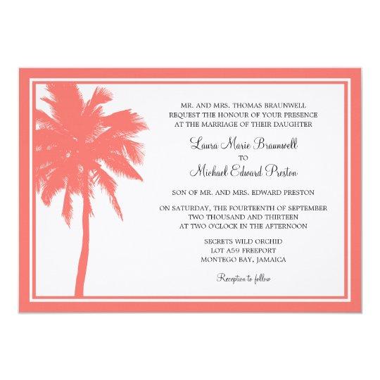 Coral Palm Tree Tropical Wedding Card