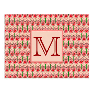 Coral pansies - retro wallpaper pattern postcard
