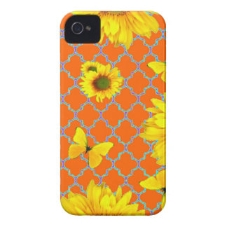 Coral Pattern Yellow butterflies Sunflowers iPhone 4 Cases