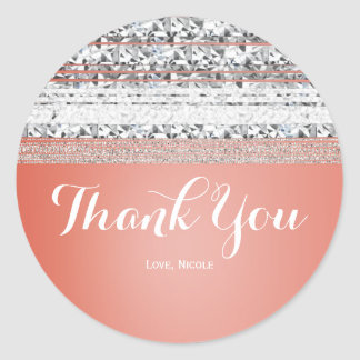 Coral Peach Dipped Chic Silver Bling Party Favor Classic Round Sticker
