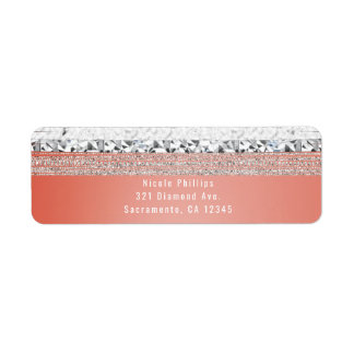 Coral Peach Dipped Silver Bling Party Invitation Return Address Label