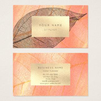 Coral Peach Gold Black Sepia Metallic Botanical Business Card