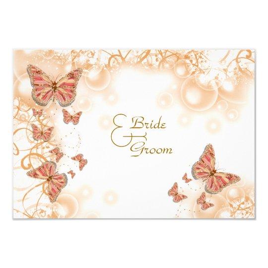 Coral peach gold wedding engagement anniversary card
