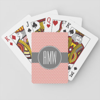 Coral Peach Gray Chevrons Custom Triple Monogram Playing Cards
