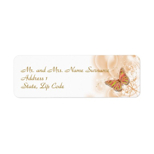 Coral peach green return address return address label