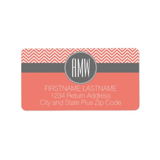 Coral Peach Grey Chevrons Custom Triple Monogram Address Label