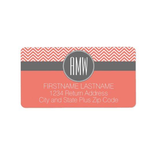 Coral Peach Grey Chevrons Custom Triple Monogram Label