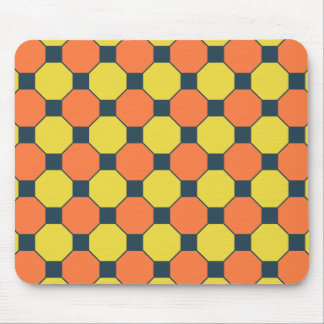 Coral Peach Lemon Zest Yellow Blue Gray Tiles Mouse Pad