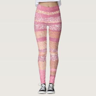 Coral Peach Pink Rose Stripes Glitter Metallic Leggings