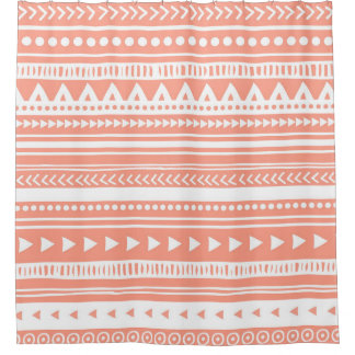 Coral Peach Pink Tribal Pattern Shower Curtain
