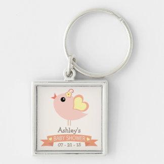 Coral, Peach, Yellow Love Bird Baby Shower Keychain